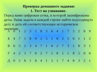 Проверка домашнего задания: 1. Тест на узнавание. Перед вами цифровая сетка,
