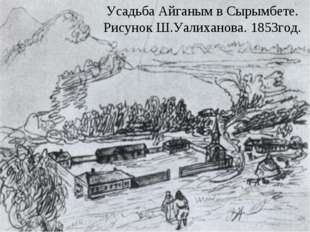 Усадьба Айганым в Сырымбете. Рисунок Ш.Уалиханова. 1853год.