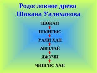 Родословное древо Шокана Уалиханова ШОКАН ШЫНГЫС УАЛИ ХАН АБЫЛАЙ ДЖУЧИ ЧИНГИС