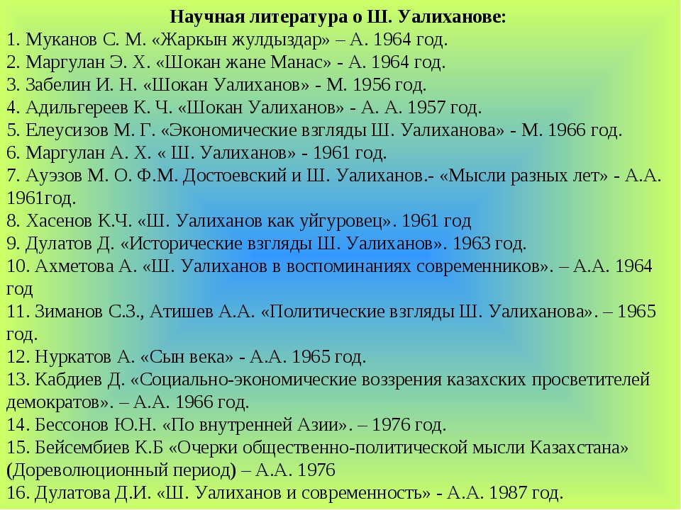 Научная литература о Ш. Уалиханове: 1. Муканов С. М. «Жаркын жулдыздар» – А....