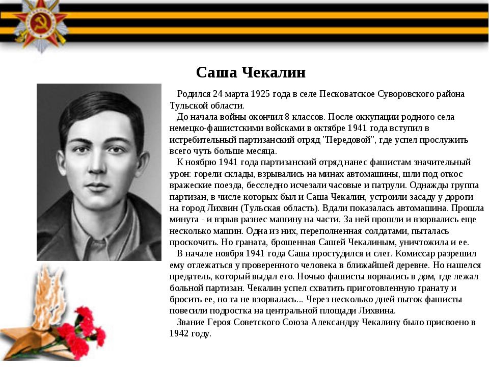 Саша Чекалин Родился 24 марта 1925 года в селе Песковатское Суворовского райо...
