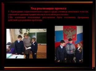 Ход реализации проекта 1. Проведение социологического опроса среди учеников н