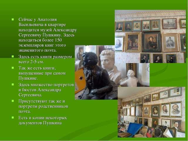 Сейчас у Анатолия Васильевича в квартире находится музей Александру Сергеевич...