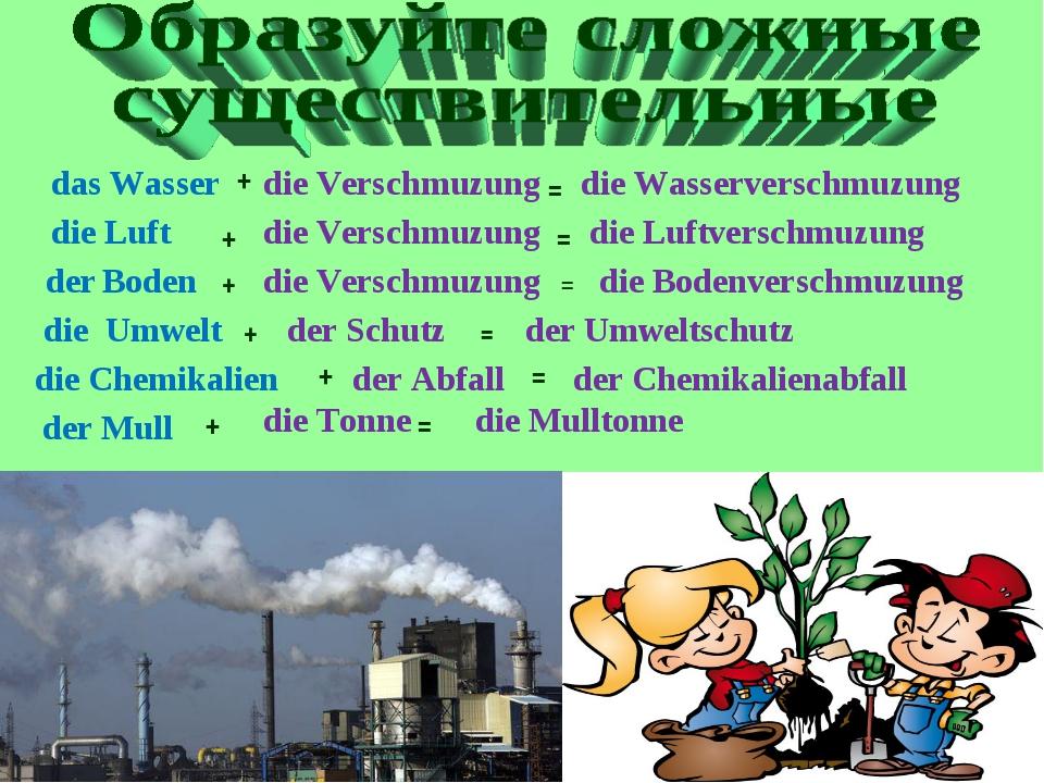 die Verschmuzung + das Wasser = die Wasserverschmuzung die Luft + = die Luftv...