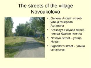 The streets of the village Novoukolovo General Astanin street- улица генерала