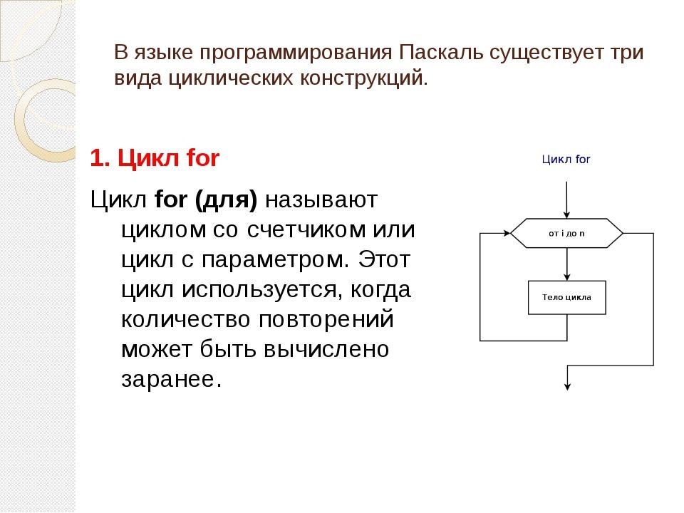В языке программирования Паскаль существует три вида циклических конструкций....