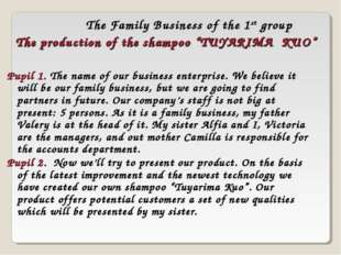 The Family Business of the 1st group Pupil 1. The name of our business enterp