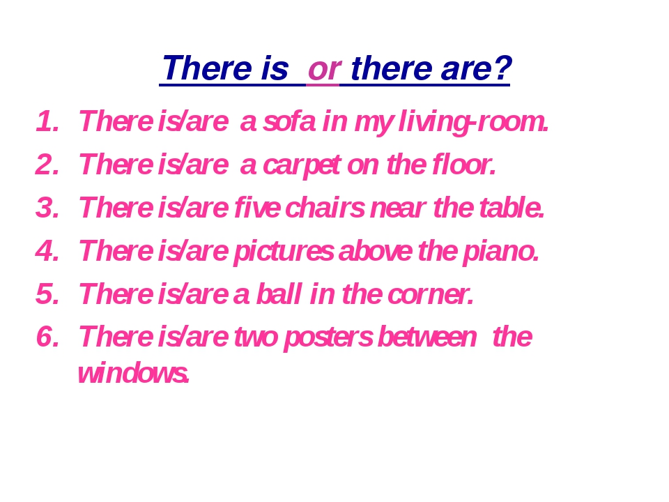 There is or there are? There is/are a sofa in my living-room. There is/are a...