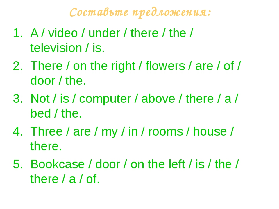 Составьте предложения: A / video / under / there / the / television / is. The...