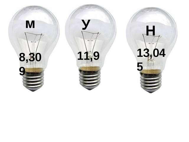 м 8,309 У 11,9 Н 13,045
