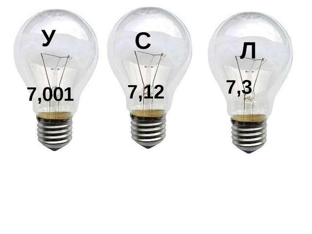 У 7,001 С 7,12 Л 7,3