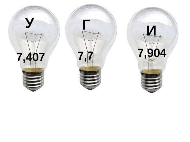 У 7,407 Г 7,7 И 7,904