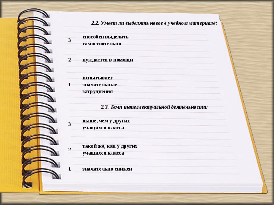 2.2. Умеет ли выделять новое в учебном материале: 3способен выделить самост...