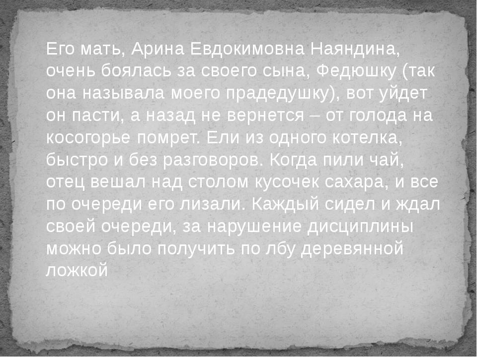 Его мать, Арина Евдокимовна Наяндина, очень боялась за своего сына, Федюшку...