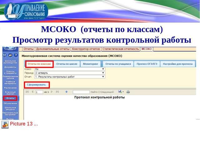 МСОКО (отчеты по классам) Просмотр результатов контрольной работы