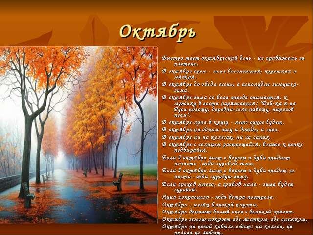 Октябрь Быстро тает октябрьский день - не привяжешь за плетень. В октябре гро...