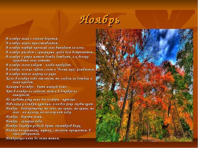 Ноябрь В ноябре зима с осенью борется. В ноябре мороз приосанивается. В ноябр...