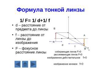 Формула тонкой линзы d – расстояние от предмета до линзы f – расстояние от ли