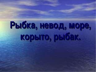 Рыбка, невод, море, корыто, рыбак.