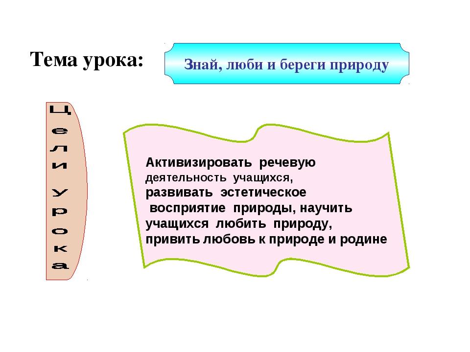 Знай, люби и береги природу Тема урока: Активизировать речевую деятельность у...