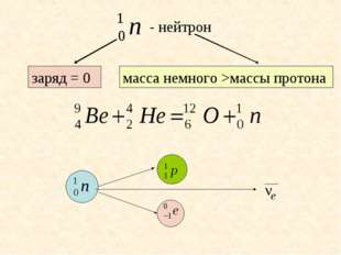 заряд = 0 масса немного >массы протона