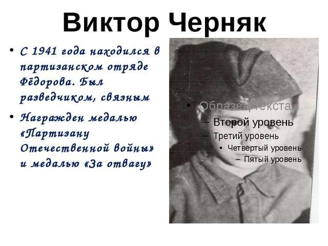 Виктор Черняк С 1941 года находился в партизанском отряде Фёдорова. Был разве...