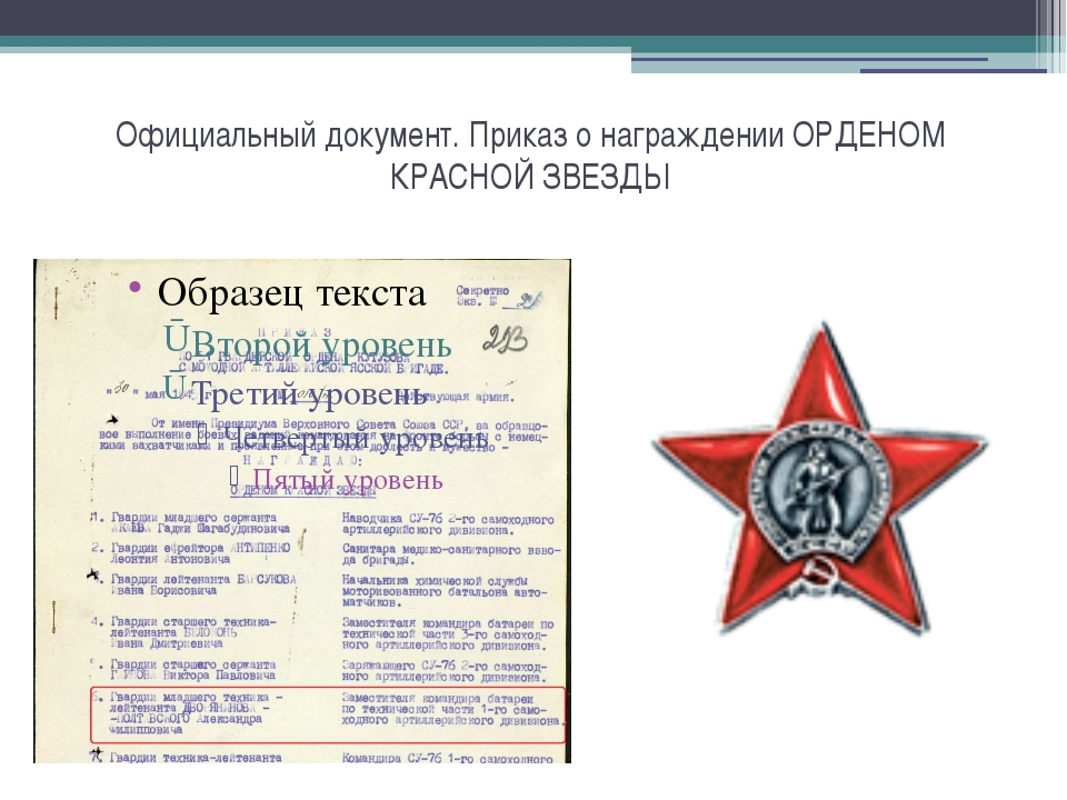 Официальный документ. Приказ о награждении ОРДЕНОМ КРАСНОЙ ЗВЕЗДЫ