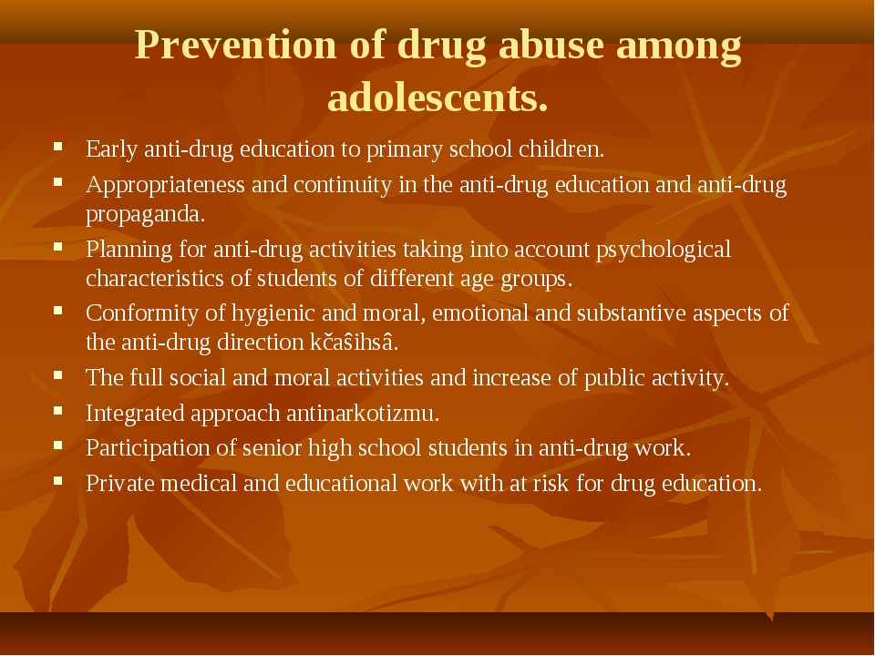 Prevention of drug abuse among adolescents. Early anti-drug education to prim...