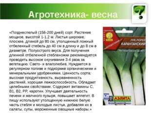Агротехника- весна «Позднеспелый (156-200 дней) сорт. Растение мощное, высото