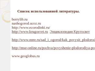 Список использованной литературы.  berrylib.ru nashogorod.ucoz.ru http://ww