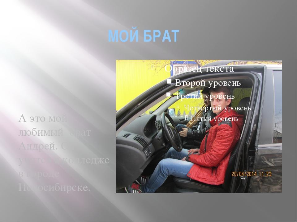 МОЙ БРАТ А это мой любимый брат Андрей. Он учится в колледже в городе Новосиб...