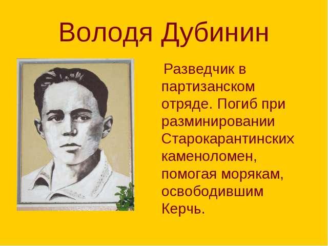 Володя Дубинин Разведчик в партизанском отряде. Погиб при разминировании Стар...