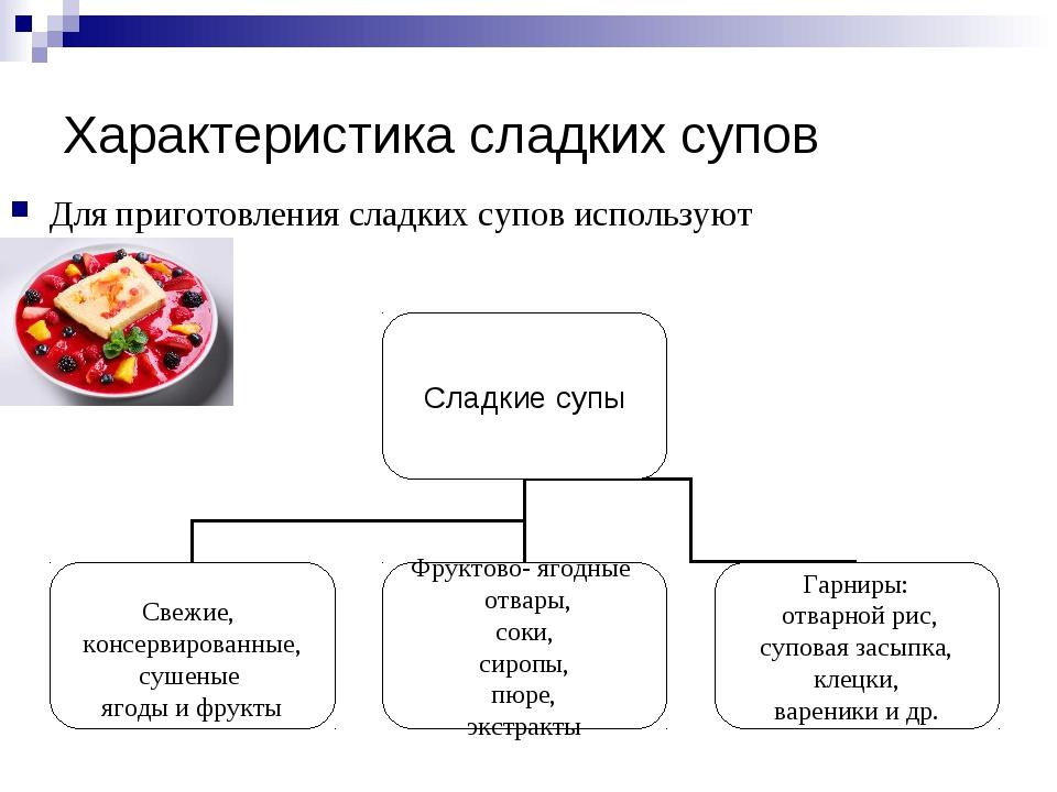 Характеристика сладких супов Для приготовления сладких супов используют