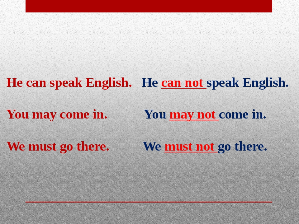 He can speak English. He can not speak English.  You may come in. You may no...