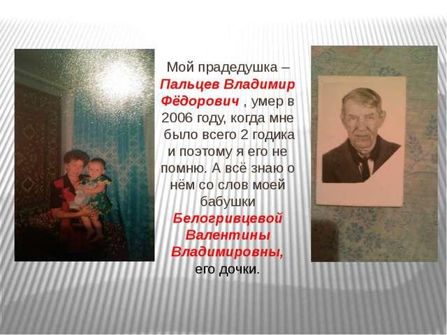 Мой прадедушка – Пальцев Владимир Фёдорович , умер в 2006 году, когда мне бы...