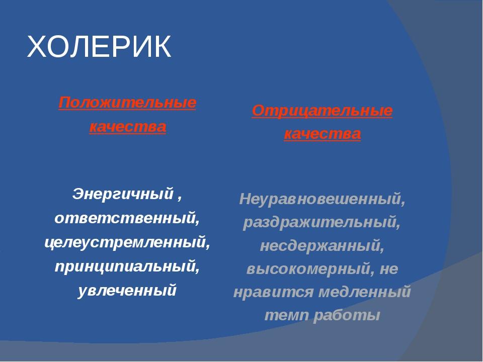 ХОЛЕРИК Положительные качества Энергичный , ответственный, целеустремленный,...