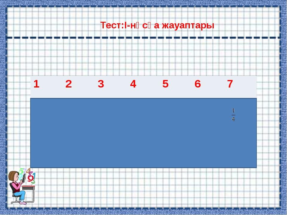 Тест:І-нұсқа жауаптары 1234567 БАГА2/3-1,5 1