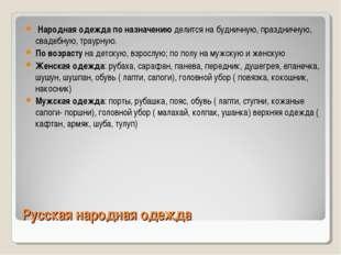 Русская народная одежда Народная одежда по назначению делится на будничную, п
