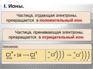 I. Ионы. Пояснение: Частица, отдающая электроны, превращается в положительн