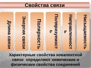 Характерные свойства ковалентной связи определяют химические и физические сво