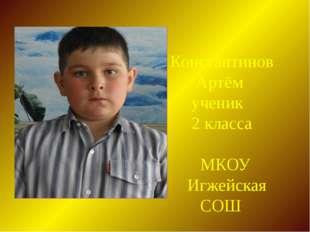 Константинов Артём ученик 2 класса МКОУ Игжейская СОШ