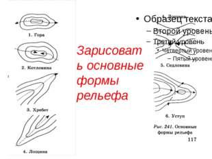 Зарисовать основные формы рельефа