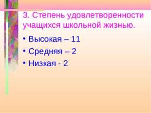 3. Степень удовлетворенности учащихся школьной жизнью. Высокая – 11 Средняя –