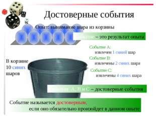Достоверные события В корзине 10 синих шаров Опыт: вынимание шара из корзины