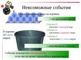 Невозможные события В корзине 10 синих шаров Опыт: вынимание шара из корзины
