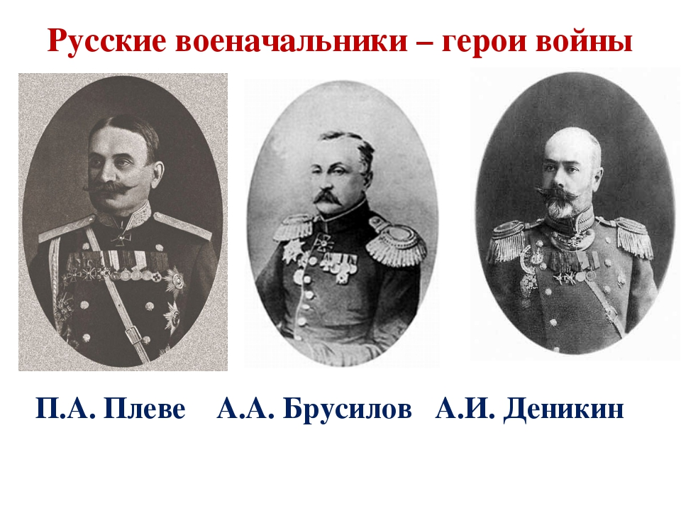 П.А. Плеве А.А. Брусилов А.И. Деникин Русские военачальники – герои войны