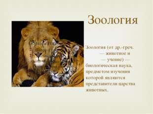 Зоология Зоология (от др.-греч. ζῷον — животное и λόγος — учение) — биологиче