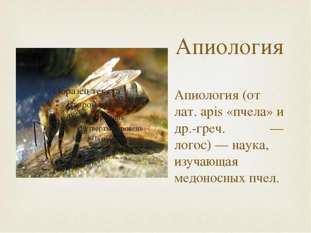 Апиология Апиология (от лат. apis «пчела» и др.-греч. λόγος — логос) — наука,...