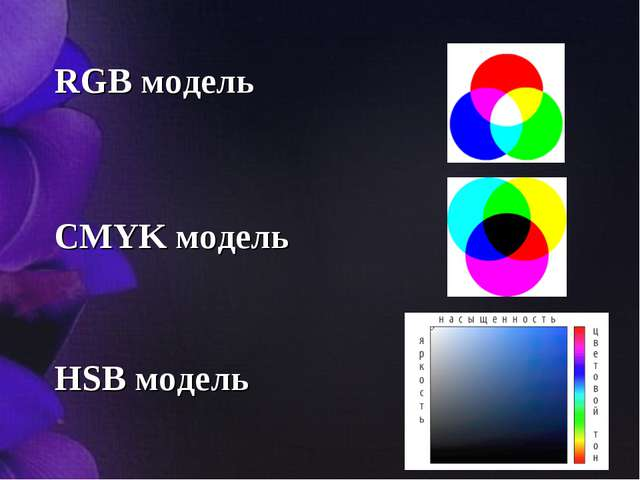 RGB модель CMYK модель HSB модель