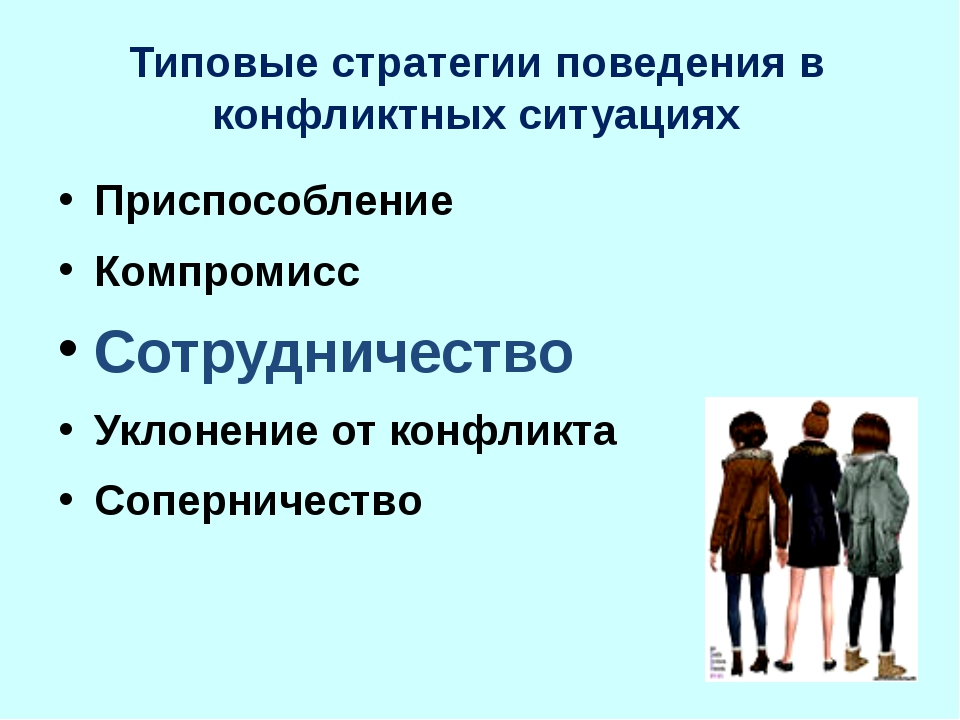 Типовые стратегии поведения в конфликтных ситуациях Приспособление Компромисс...